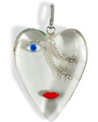 Delfina Delettrez Clear Resin/Silver/Enamel Heart Pendant - Lyst