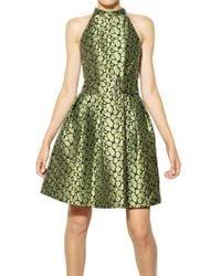 Kenzo Leopard Techno Cotton Jacquard Dress green - Lyst