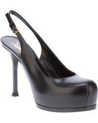 Saint Laurent Sling Back Shoe black - Lyst