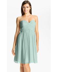 Donna Morgan 'Morgan' Strapless Silk Chiffon Dress - Lyst