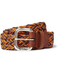 Etro Woven leather and Cotton Belt - Lyst