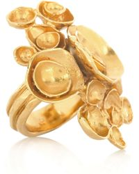Saint Laurent Arty Goldplated Flower Ring - Lyst