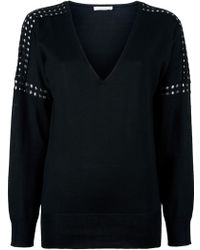 Chloé Perforated Sleeve Sweater black - Lyst