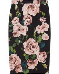 Dolce & Gabbana Rose Print Crepe Pencil Skirt - Lyst