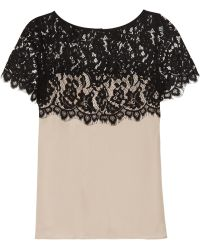 Milly Silk Georgette and Lace Top black - Lyst
