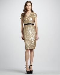 Burberry Sequined V-Neck Dress - Lyst