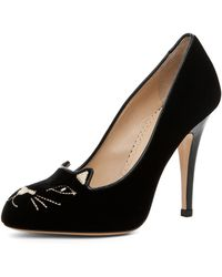 Charlotte Olympia Black Velvet Cat Pumps - Lyst