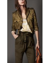 Burberry Cropped Cotton Twill Military Jacket - Lyst