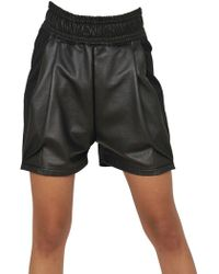 Damir Doma - Leather and Coated Cotton Fleece Shorts - Lyst