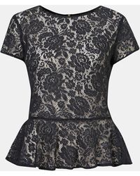 Topshop Sheer Lace Peplum Top - Lyst
