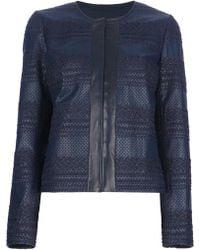Tory Burch Woven Leather Jacket - Lyst