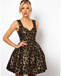 ASOS Collection Mini Structured Dress in Metallic Animal black - Lyst