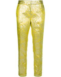Tory Burch Metallic Patterned Trouser yellow - Lyst
