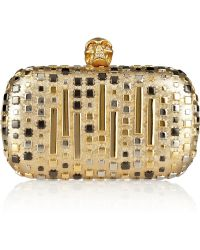 Alexander McQueen The Skull Studded Metallic Leather Box Clutch - Lyst