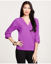 Ann Taylor Petite Crepe Rolled Sleeve Wrap Top - Lyst