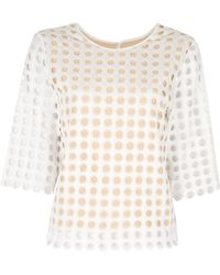 Chloé Slim Perforated Shirt white - Lyst