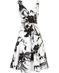 Linea 50s Prom Black White Flower Prom Dress - Lyst