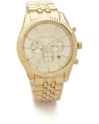Michael Kors Men'S Oversized Lexington Watch - Gold - Lyst