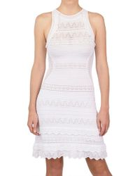 Roberto Cavalli Crochet Cotton Viscose Knit Dress white - Lyst