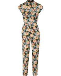 Tucker - Floralprint Silkgeorgette Jumpsuit - Lyst