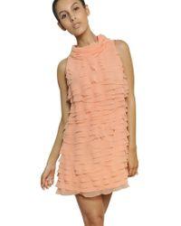 Moschino Ruffled Techno Mousseline Dress - Lyst