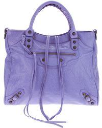 Balenciaga Fringed Tote purple - Lyst