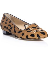 Charlotte Olympia Bisoux Suede and Leopard Print Slippers - Lyst