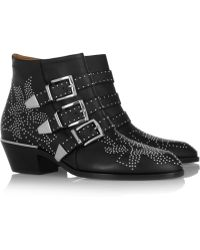 Chloé Susanna Studded Leather Boots - Lyst