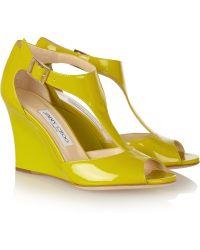 Jimmy Choo Token Patentleather Tbar Wedge Sandals yellow - Lyst