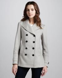 Burberry brit Short Twill Pea Coat in Gray | Lyst