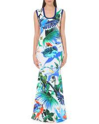 Roberto Cavalli Tropical-print Stretch-jersey Maxi Dress - Lyst
