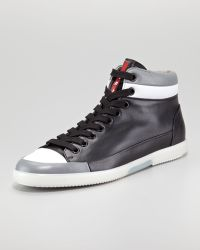 Prada Hitop Contrast-lip Sneaker - Lyst