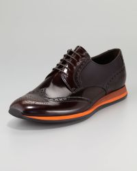 Prada Contrast sole Wing-tip Shoe - Lyst