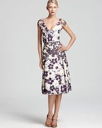 Zac Posen Cap Sleeve Dress Floral floral - Lyst