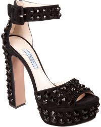 Prada Peep Toe Jeweled Platform Sandals - Lyst