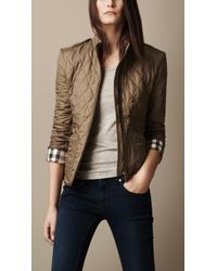 Burberry Brit Check Cuff Quilted Jacket - Lyst
