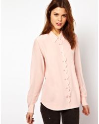 Equipment Scallop Edge Brett Shirt in Silk - Lyst