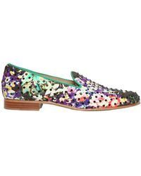 Etro 10mm Floral Cotton and Swarovski Loafers - Lyst