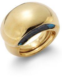 Kara Ross - Python Skin Inset Crescent Dome Ring - Lyst