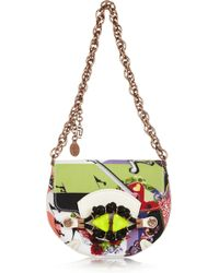 Versace Printed Grosgrain and Leather Shoulder Bag - Lyst