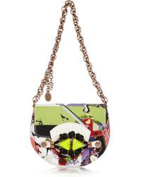 Versace Printed Grosgrain and Leather Shoulder Bag multicolor - Lyst