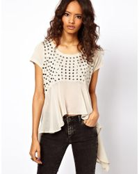 ASOS Collection Top with Dipped Woven Hem beige - Lyst