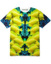 Katie Eary Katie Eary Fishprint Cottonjersey Tshirt yellow - Lyst