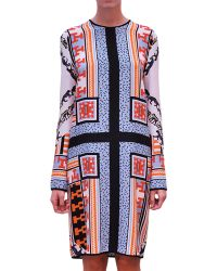 MSGM Printed Crepe De Chine Tunic Dress - Lyst