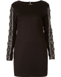 Topshop Embellished Arm Bodycon Dress black - Lyst