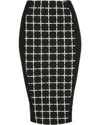 Topshop Grid Panel Tube Skirt - Lyst