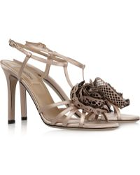 Valentino Embellished Satin and Leather Sandals - Lyst