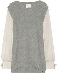 3.1 Phillip Lim Contrast sleeve Wool and Cashmere blend Sweater - Lyst