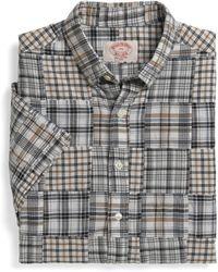 Brooks Brothers Slim Fit Short Sleeve Patch Madras Sport Shirt - Lyst