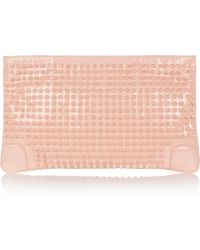 Christian Louboutin Loubiposh Spiked Patent Leather Clutch - Lyst